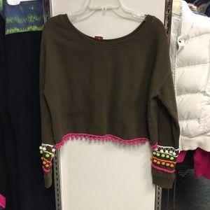 ASOS size 6 olive crop sweatshirt with pompous